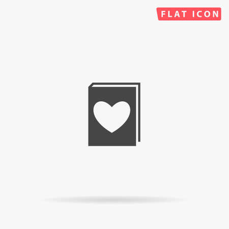 Love Book flat vector icon. Glyph style sign. Simple hand drawn illustrations symbol for concept infographics, designs projects, UI and UX, website or mobile application. Ilustracja