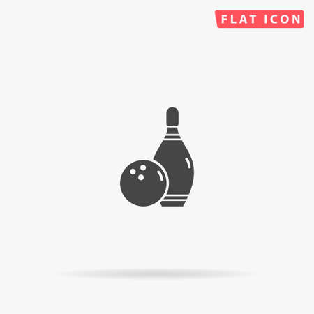 Bowling Game flat vector icon. Glyph style sign. Simple hand drawn illustrations symbol for concept infographics, designs projects, UI and UX, website or mobile application.