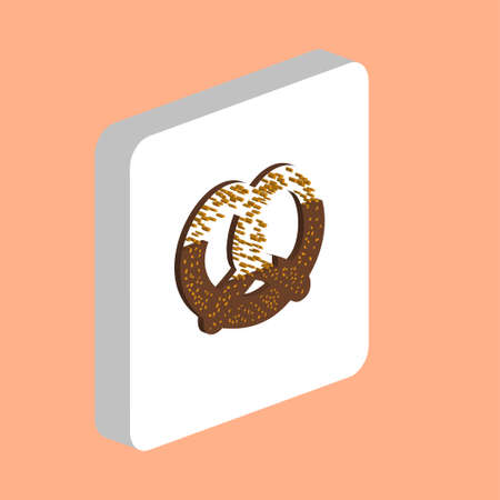 Pretzel Gingerbread Simple vector icon. Illustration symbol design template for web mobile UI element. Perfect color isometric pictogram on 3d white square. Pretzel Cake icons for business project