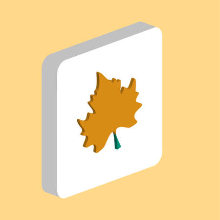 Maple Leaf Simple vector icon. Illustration symbol design template for web mobile UI element. Perfect color isometric pictogram on 3d white square. Maple Leaf icons for business project
