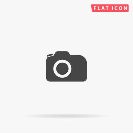 Flaches Vektorsymbol der Fotokamera. Zeichen im Glyphenstil. Einfaches handgezeichnetes Illustrationssymbol für Konzeptinfografiken, Designprojekte, UI und UX, Website oder mobile Anwendung.