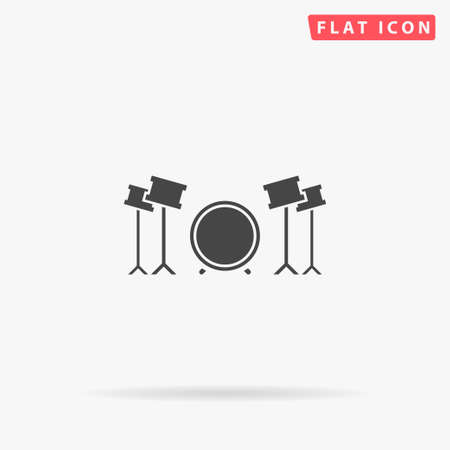 Drums flat vector icon. Glyph style sign. Simple hand drawn illustrations symbol for concept infographics, designs projects, UI and UX, website or mobile application.