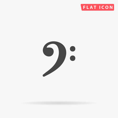 F Clef flat vector icon. Glyph style sign. Simple hand drawn illustrations symbol for concept infographics, designs projects, UI and UX, website or mobile application.