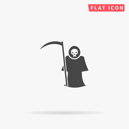 Grim Reaper, Death flat vector icon. Glyph style sign. Simple hand drawn illustrations symbol for concept infographics, designs projects, UI and UX, website or mobile application.