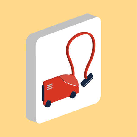 Vacuum Cleaner Simple icon. Illustration symbol design template for web mobile UI element. Perfect color isometric pictogram on 3d white square. Vacuum Cleaner icons for business project