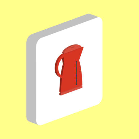 Electric Kettle Simple icon. Illustration symbol design template for web mobile UI element. Perfect color isometric pictogram on 3d white square. PElectric Kettle icons for business project