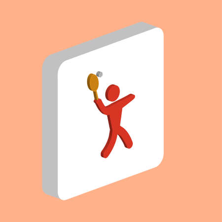 Tennis Player, Sport Simple vector icon. Illustration symbol design template for web mobile UI element. Perfect color isometric pictogram on 3d white square. Tennis Player icons for business project