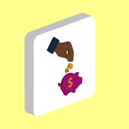 Investing, Piggy Bank Simple vector icon. Illustration symbol design template for web mobile UI element. Perfect color isometric pictogram on 3d white square. Investing Bank icons for business project