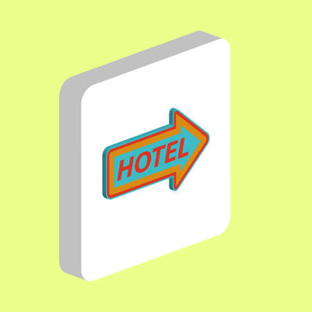 Hotel Neon Arrow Simple vector icon. Illustration symbol design template for web mobile UI element. Perfect color isometric pictogram on 3d white square. Hotel Neon Arrow icons for business project