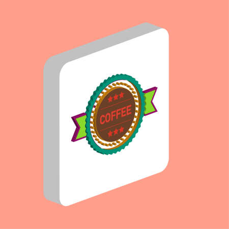 Coffee label Simple vector icon. Illustration symbol design template for web mobile UI element. Perfect color isometric pictogram on 3d white square. Coffee label icons for business project