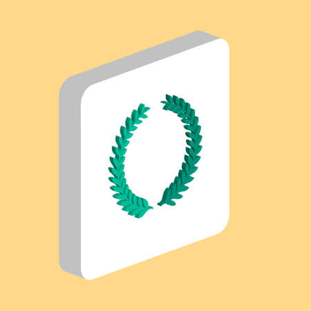 laurel wreath Simple vector icon. Illustration symbol design template for web mobile UI element. Perfect color isometric pictogram on 3d white square. laurel wreath icons for business project