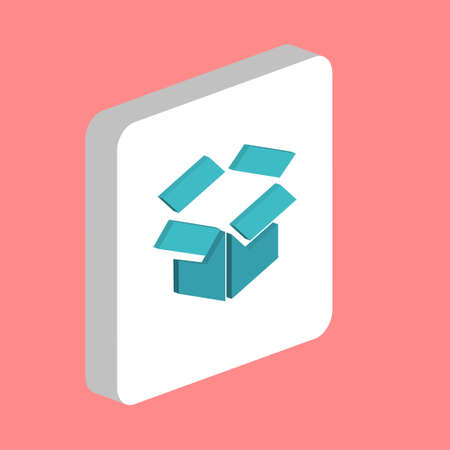 Open Box Simple vector icon. Illustration symbol design template for web mobile UI element. Perfect color isometric pictogram on 3d white square. Open Box icons for business project