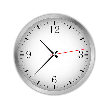 Office circle retro analog clock with black hands and numbers - time, vector art image illustration, isolated on white background, realistic design.