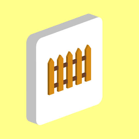 Wooden Fence Simple vector icon. Illustration symbol design template for web mobile UI element. Perfect color isometric pictogram on 3d white square. Wooden Fence icons for business project Stock Illustratie