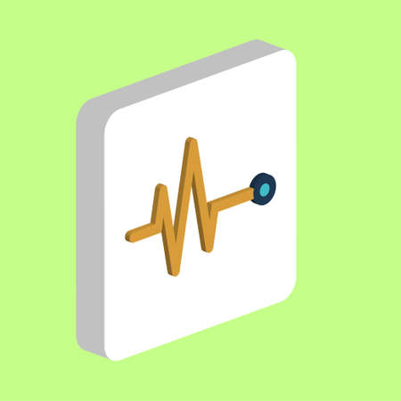 Pulse, Cardiogram Simple vector icon. Illustration symbol design template for web mobile UI element. Perfect color isometric pictogram on 3d white square. Pulse, Cardiogram icons for business project