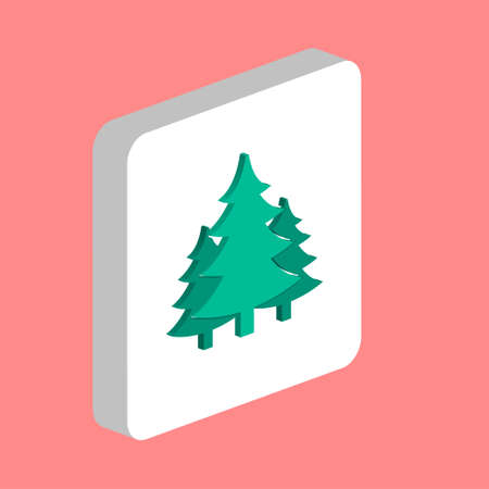 Christmas Spruce Simple vector icon. Illustration symbol design template for web mobile UI element. Perfect color isometric pictogram on 3d white square. Christmas Spruce icons for business project
