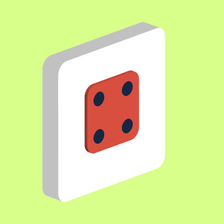 Dice Cube Side Four Simple vector icon. Illustration symbol design template for web mobile UI element. Perfect color isometric pictogram on 3d white square. Cube Side Four icons for business project