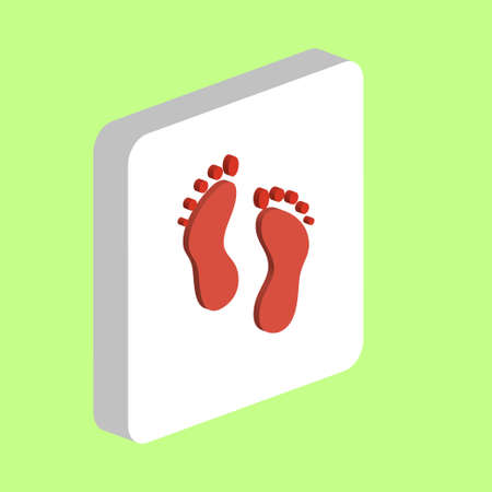 Feet, Human Footprints Simple vector icon. Illustration symbol design template for web mobile UI element. Perfect color isometric pictogram on 3d white square. Human Feet icons for business project Stock Illustratie