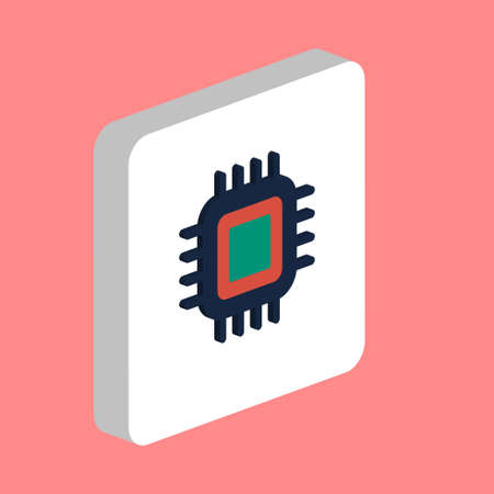 Cpu, pc processor Simple vector icon. Illustration symbol design template for web mobile UI element. Perfect color isometric pictogram on 3d white square. Cpu, pc processor icons for business project