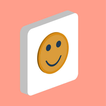 Happy face, smile Simple vector icon. Illustration symbol design template for web mobile UI element. Perfect color isometric pictogram on 3d white square. Happy face, smile icons for business project Stock Illustratie