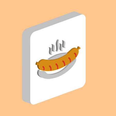 Hot Sausage in plate Simple vector icon. Illustration symbol design template for web mobile UI element. Perfect color isometric pictogram on 3d white square. Hot Sausage icons for business project Stock Illustratie