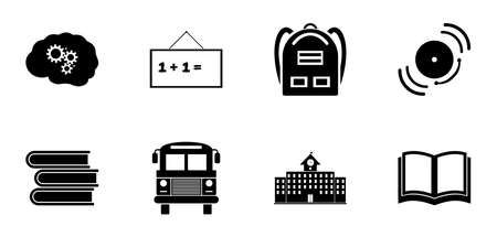 Back to School icon set. Education icons contains School Building, Open Book, Textbooks, Backpack, Bus, Bell, Blackboard, Brain. Black symbol on white background. Simple Flat Vector Illustration signs Stock Illustratie
