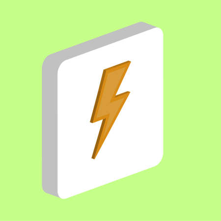 Lighting bolt Simple vector icon. Illustration symbol design template for web mobile UI element. Perfect color isometric pictogram on 3d white square. Lighting bolt icons for business project Stock Illustratie