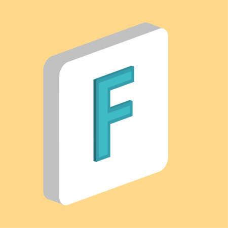Letter F Simple vector icon. Illustration symbol design template for web mobile UI element. Perfect color isometric pictogram on 3d white square. Letter F icons for business project