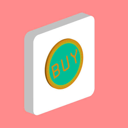 Buy Label Simple vector icon. Illustration symbol design template for web mobile UI element. Perfect color isometric pictogram on 3d white square. Buy Label icons for business project