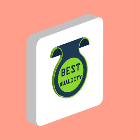 Best quality label Simple vector icon. Illustration symbol design template for web mobile UI element. Perfect color isometric pictogram on 3d white square. Best quality icons for business project