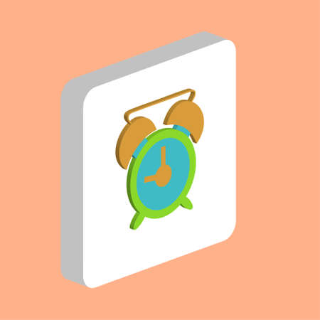 Alarm clock Simple vector icon. Illustration symbol design template for web mobile UI element. Perfect color isometric pictogram on 3d white square. Alarm clock icons for business project Stock Illustratie