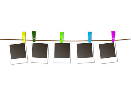 Photo Frames on Rope with colored clothespins. Vector Illustration Vetores