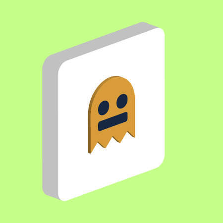 Ghost, Phantom Simple vector icon. Illustration symbol design template for web mobile UI element. Perfect color isometric pictogram on 3d white square. Ghost, Phantom icons for business project Ilustracja