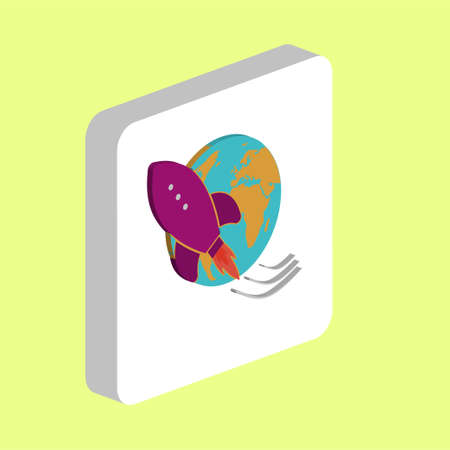 Space Ship Rocket Simple vector icon. Illustration symbol design template for web mobile UI element. Perfect color isometric pictogram on 3d white square. Space Ship Rocket icons for business project