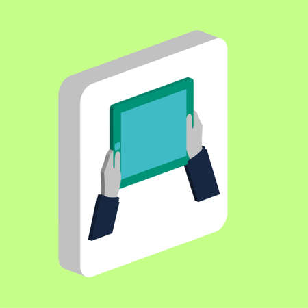 Hands Hold Tablet Simple vector icon. Illustration symbol design template for web mobile UI element. Perfect color isometric pictogram on 3d white square. Hands Hold Tablet icons for business project