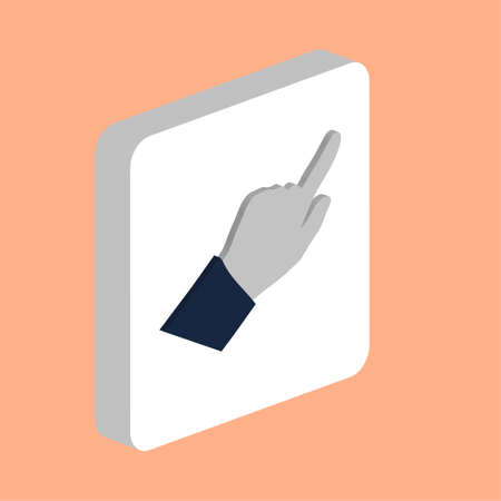 Hand Cursor Arrow Simple vector icon. Illustration symbol design template for web mobile UI element. Perfect color isometric pictogram on 3d white square. Hand Cursor Arrow icons for business project