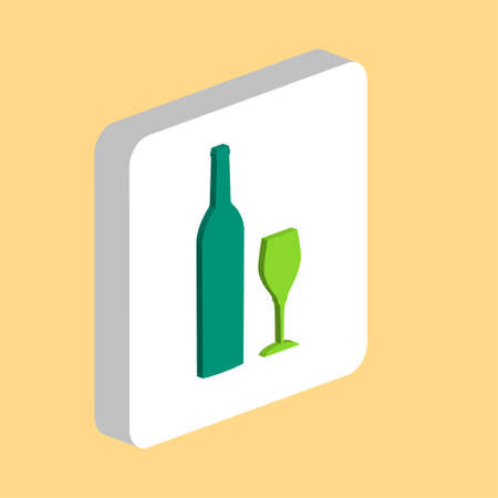 Bottle and Glass Simple vector icon. Illustration symbol design template for web mobile UI element. Perfect color isometric pictogram on 3d white square. Bottle and Glass icons for business project