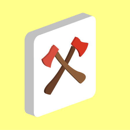 Two Crossed Axes Simple vector icon. Illustration symbol design template for web mobile UI element. Perfect color isometric pictogram on 3d white square. Two Crossed Axes icons for business project