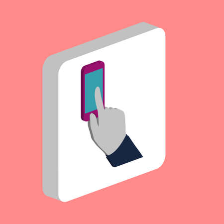 Hand Use Phone Simple vector icon. Illustration symbol design template for web mobile UI element. Perfect color isometric pictogram on 3d white square. Hand Use Phone icons for business project