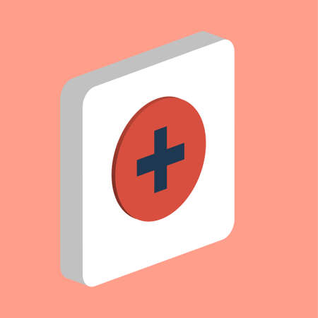Medical Cross Simple vector icon. Illustration symbol design template for web mobile UI element. Perfect color isometric pictogram on 3d white square. Medical Cross icons for business project Stock Illustratie