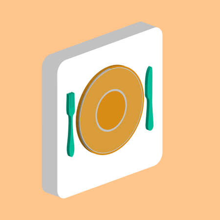 Tableware, Fork Dish Knife Simple vector icon. Illustration symbol design template for web mobile UI element. Perfect color isometric pictogram on 3d white square. Tableware icons for business project
