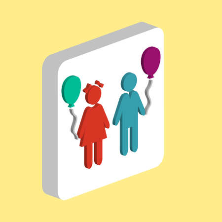 Children and Balloons Simple vector icon. Illustration symbol design template for web mobile UI element. Perfect color isometric pictogram on 3d white square. Happy Children icons for business project Stock Illustratie