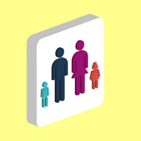 Happy Family Simple vector icon. Illustration symbol design template for web mobile UI element. Perfect color isometric pictogram on 3d white square. Happy Family icons for business project