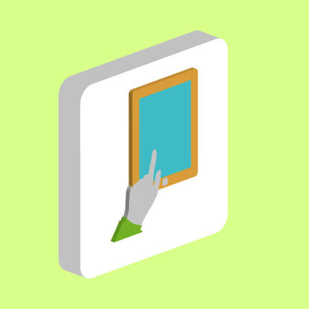 Finger Click Tablet Simple vector icon. Illustration symbol design template for web mobile UI element. Perfect color isometric pictogram on 3d white square. Click Tablet icons for business project Stock Illustratie