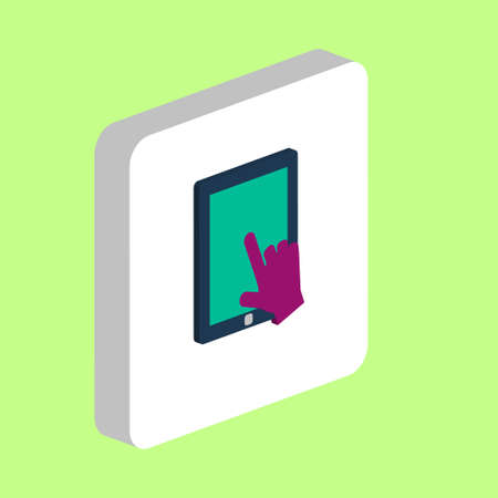 Touch Screen Tablet Simple vector icon. Illustration symbol design template for web mobile UI element. Perfect color isometric pictogram on 3d white square. Touch Screen icons for business project