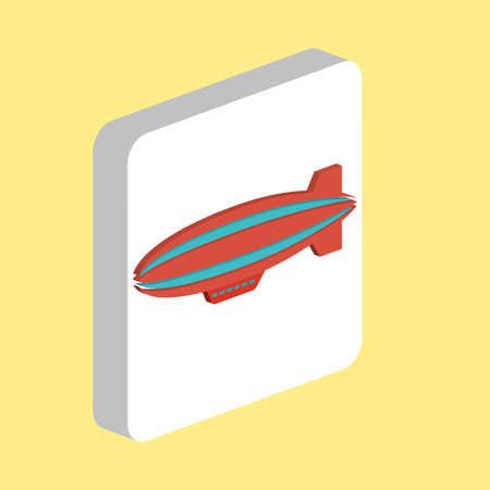 Blimp, zeppelin Simple vector icon. Illustration symbol design template for web mobile UI element. Perfect color isometric pictogram on 3d white square. Blimp, zeppelin icons for business project
