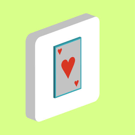 Hearts card Simple vector icon. Illustration symbol design template for web mobile UI element. Perfect color isometric pictogram on 3d white square. Hearts card icons for business project