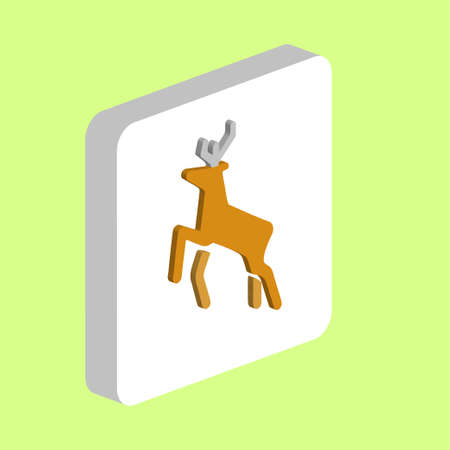 Deer Simple vector icon. Illustration symbol design template for web mobile UI element. Perfect color isometric pictogram on 3d white square. Deer icons for business project