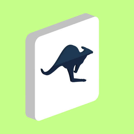 Kangaroo Simple vector icon. Illustration symbol design template for web mobile UI element. Perfect color isometric pictogram on 3d white square. Kangaroo icons for business project