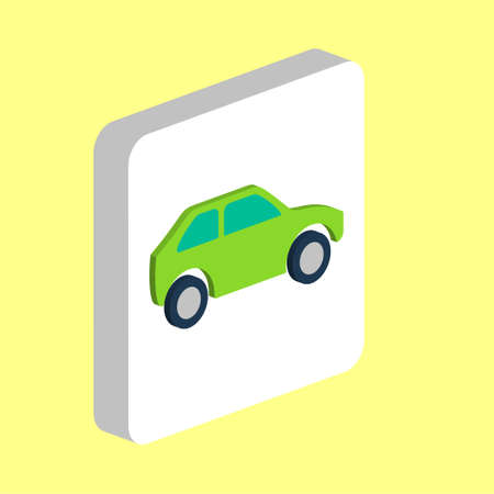 Car Simple vector icon. Illustration symbol design template for web mobile UI element. Perfect color isometric pictogram on 3d white square. Car icons for business project
